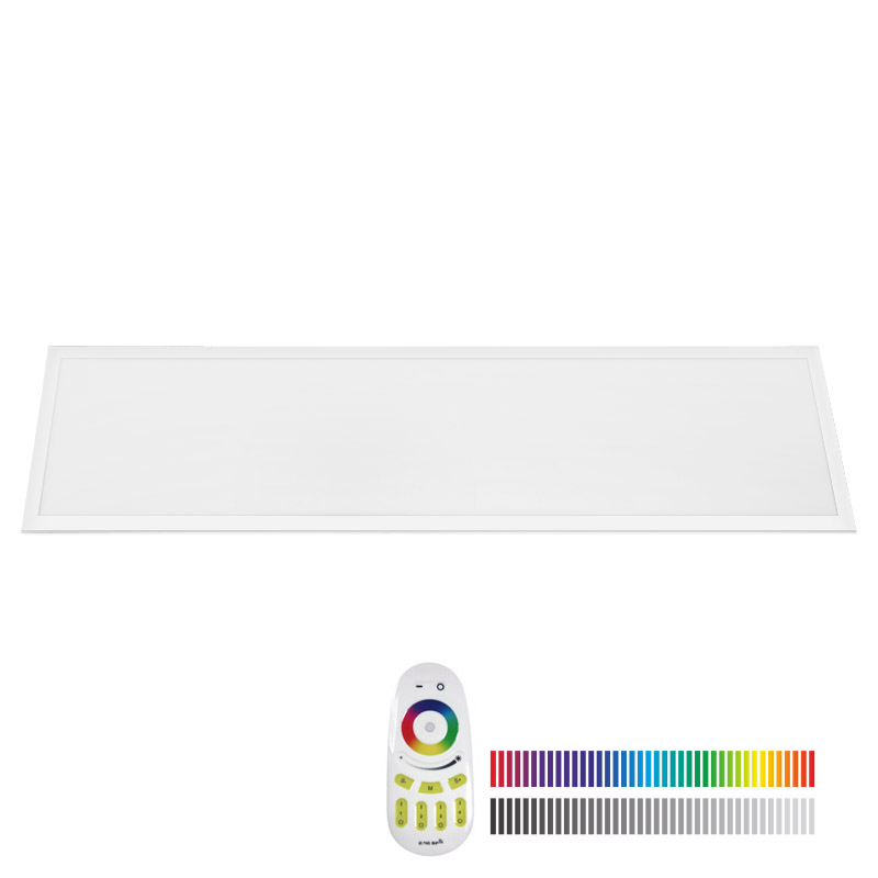 Panel LED 48W, RGB+CW, RF, 30x120cm, RGB + Blanco frió, Regulable